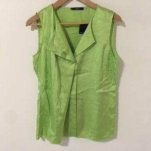 Tahari Lime Green Folded Neckline Tank-M
